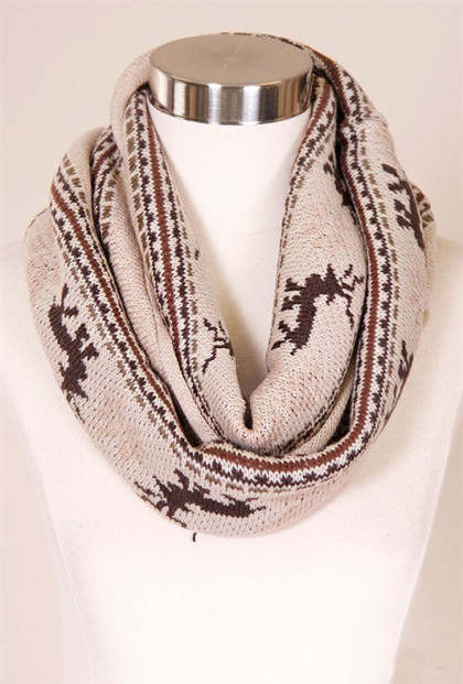 reindeer fair isle infinity scarf