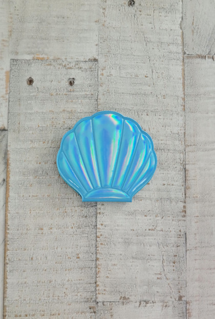 Seashell Compact Mirror in Aqua