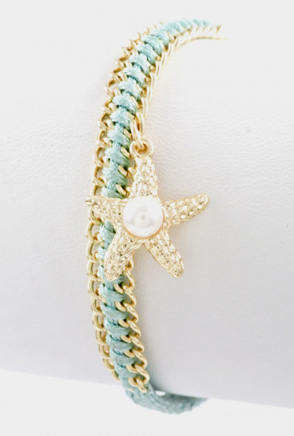 Bracelet - Sunken Treasure Starfish Pearl Braided Bracelet in Mint (
