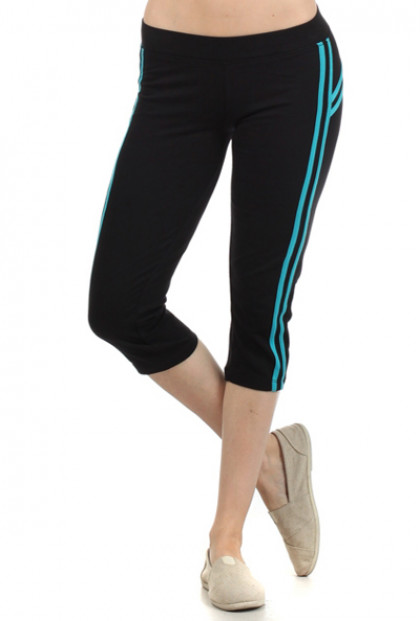Self Determination Contrast Striped Workout Capris in Blue