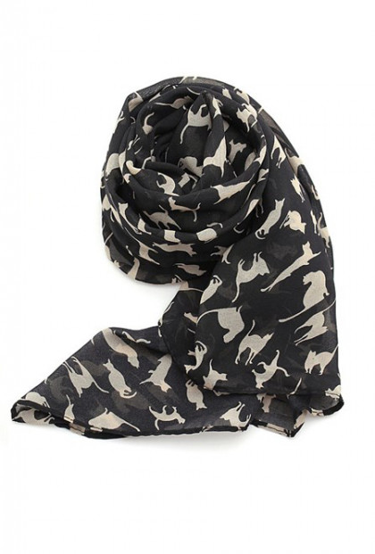black cat print scarf