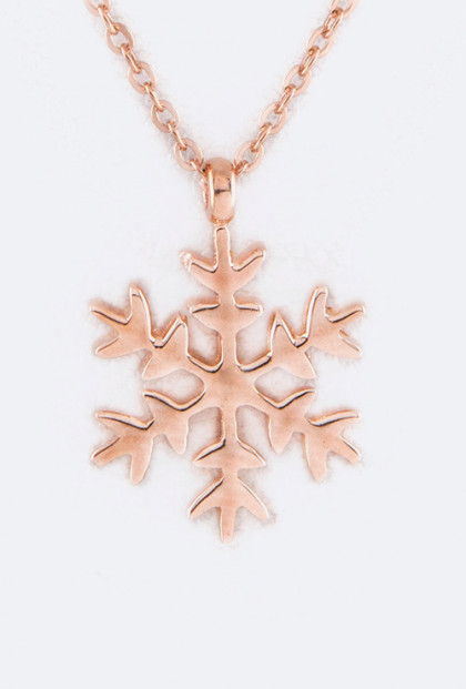 Frozen Snowflake Pendant Necklace in Rose Gold