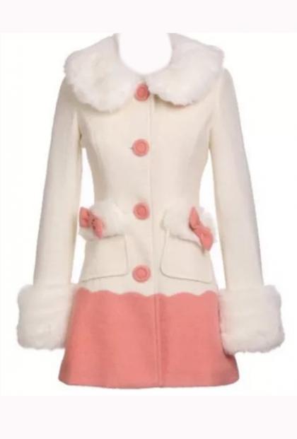 Sweet Vintage Fur Collar Swing Coat in Pink