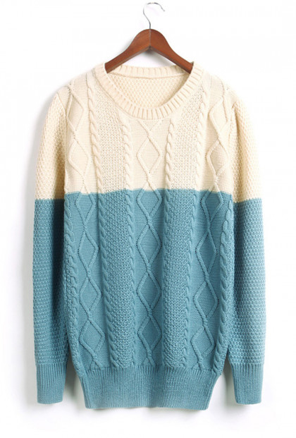 Blue & Cream Color Block Cable and Lattice Knit Sweater