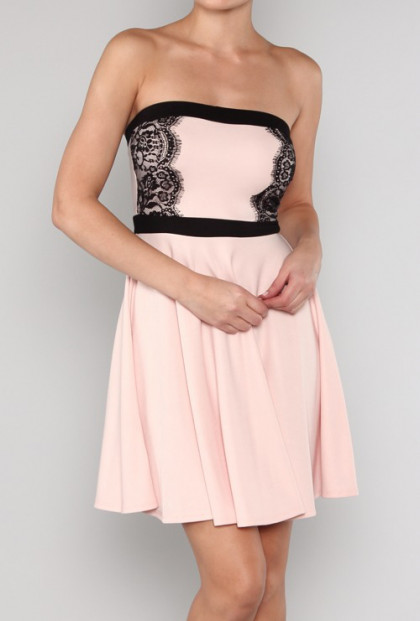 Pink Strapless Eyelash Lace Applique Dress