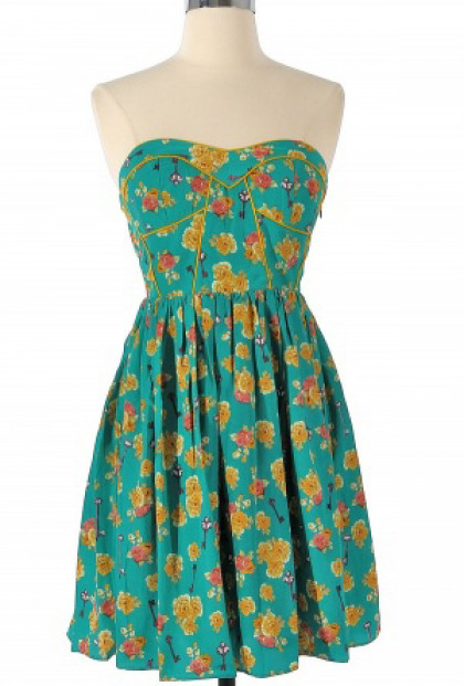 Strapless Floral Print Sweetheart Skater Dress