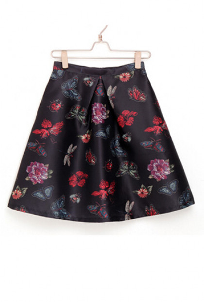 Black Butterfly Print Skater Skirt