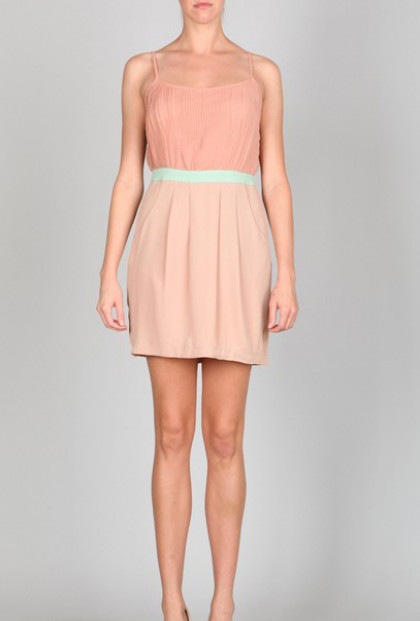 Pleated Spaghetti Strap Dress with Pockets