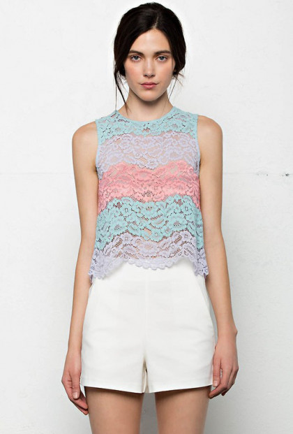 color block lace top