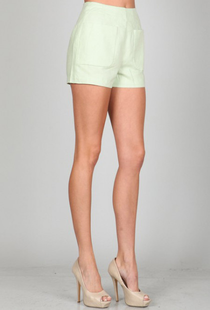 mint green High Waist Linen Pocket Shorts