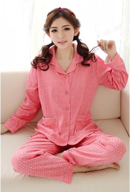 Pink Star Print Vintage Pajama Set