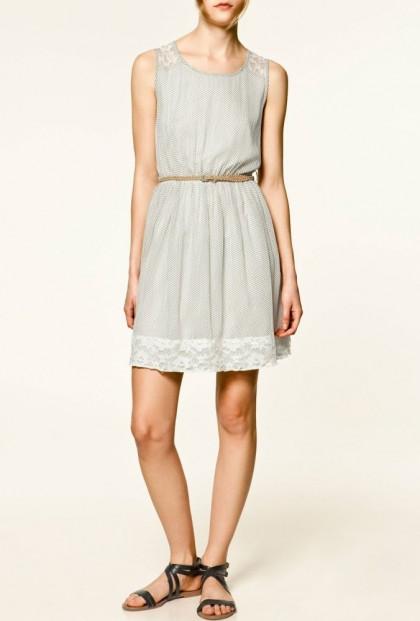 white Lace Yoke Polka Dot Print Dress