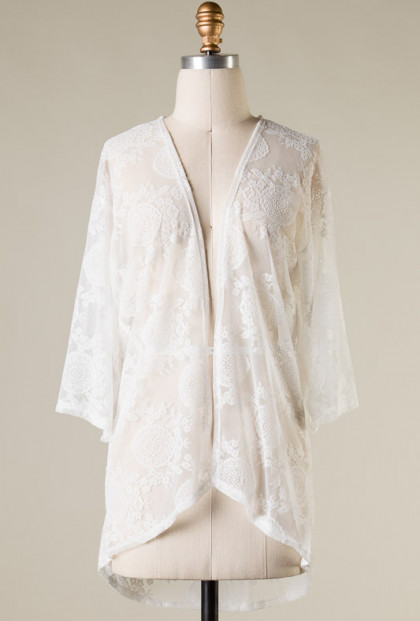 white 3/4 Sleeve Lace Mesh Cardigan