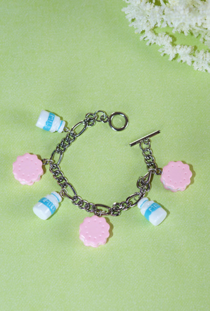 Bracelet - Sweet Dreams Milk and Cookies Charm Bracelet in Blue