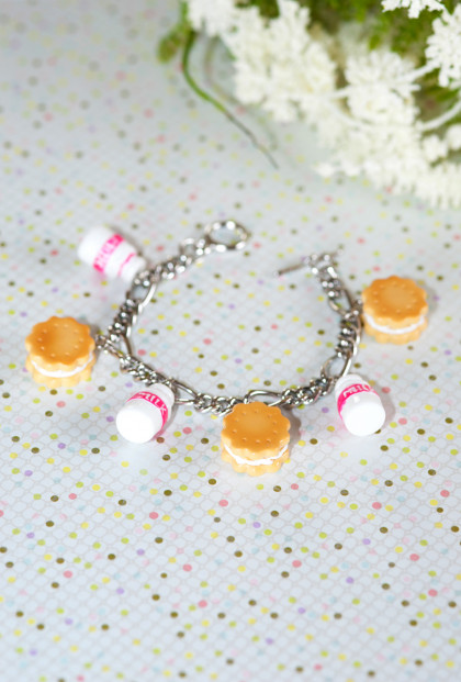 Bracelet - Sweet Dreams Milk and Cookies Charm Bracelet in magenta