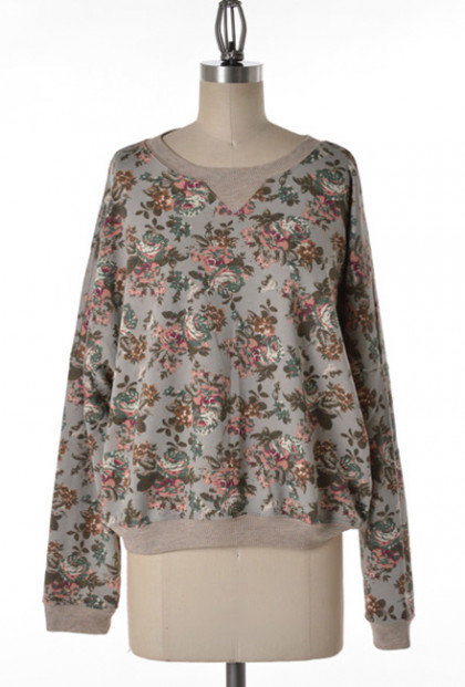 Gray Floral Pullover Sweater