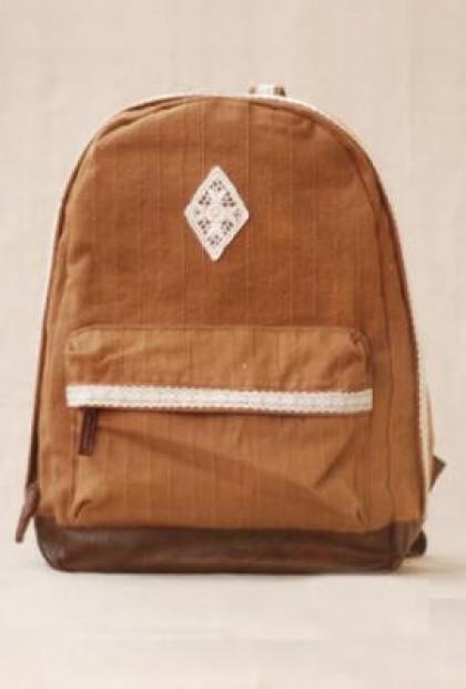 Telegram Romance Crochet Lace Trim Canvas Caramel Backpack