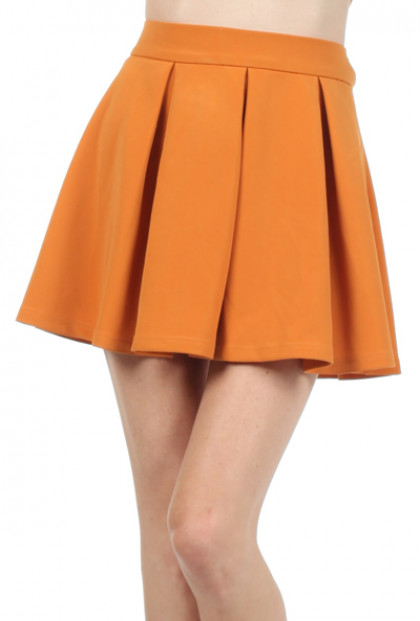 mustard Pleated Skater Skirt
