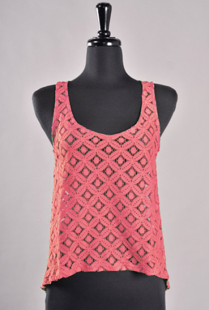 Top - Mellow Daylight Sleeveless Lace Bow Back Top in Coral