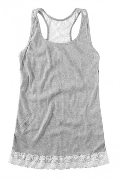 Top - Refined Simplicity Lace Embroidered Tank Top in Ash Gray