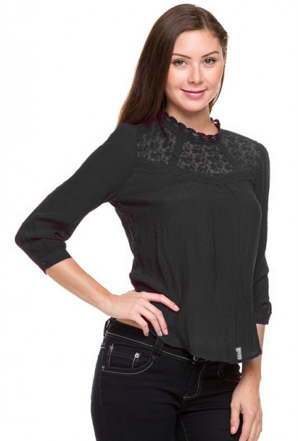 Top - Regal Resemblance Lace Mock Neck Top in Black