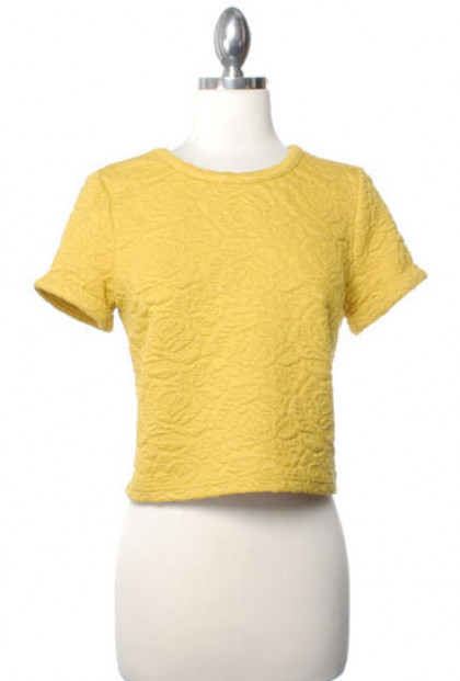 Top - Weekend Picnic Embossed Floral Short Sleeve Crop Top in Poppy Yellow