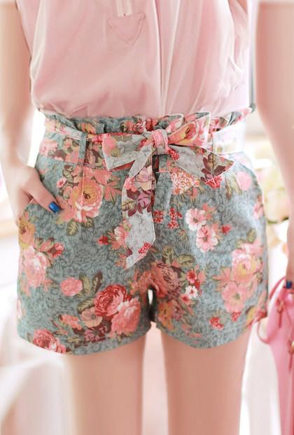 Utopian Garden Paperbag Waist Floral Print Shorts