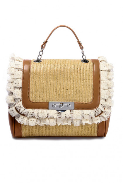 Vineyard Woven Straw Lace Handbag