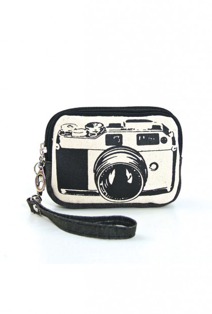 Vintage Camera Graphic Canvas Wristlet