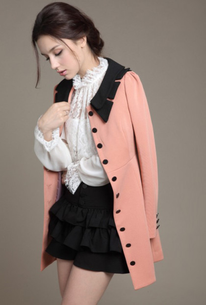 Vintage Pink Lapel Collar Coat