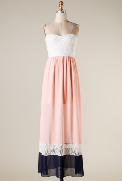 Strapless Lace Color Block Maxi Dress