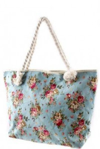Backpack - Shabby Chic Floral Print Oversized Blue Tote