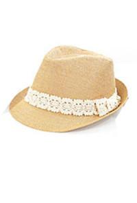 Hat - Windchime Daydream Lace Trim Bow Straw Fedora Hat