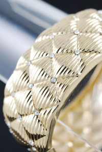 Quilted Rhinestone Bangle in Gold