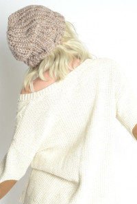 Warm Bodies Chunky Heathered Knit Beanie in Beige
