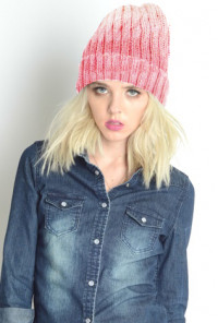 Shades of Life Ombre Ribbed Knit Beanie in Pink