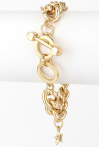 Bracelet - Sea Life Charm Chain Link Bracelet in Gold
