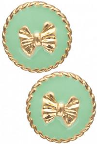 Earrings- Charm School Round Twist Trim Bow Stud Earrings in Mint