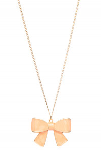 Necklace - Girls Rule Bow Pendant Necklace in Peach Pink