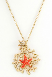 Earrings - Oceans Apart Starfish and Reef Necklace Earring Set in Coral