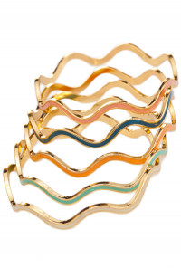 Pop Star Wavy Lacquered Bangle set