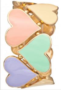 Bracelet - Hugs and Kisses Heart Cutout Stretch Bracelet In Multicolor