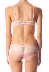 Bra Panty Set - Dainty Enchantment Pink Lace Trim Push-Up Bra and Panty Set
