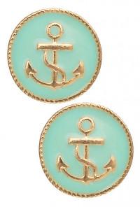 Earrings - Ship Ahoy Round Anchor Pendant Earrings in Mint