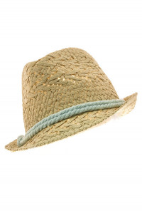Hat - Summer Fields Straw Fedora Hat with Mint Rope Cord Trims