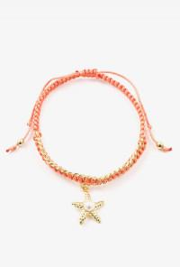 Bracelet - Starfish Pearl Braided Bracelet in Coral