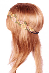 Head Piece - Forest Nymph Embroidered Floral Patch Headband Yellow