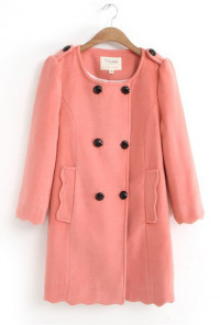 3/4-Sleeve-Scalloped-Hem-Peacoat-Coral-Pink
