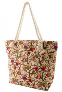 Owl Print Oversize Beige Canvas Tote