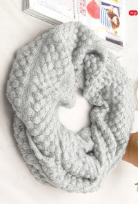Traveled Road Knitted Light Grey Infinity Scarf